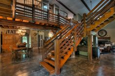 In search pf the most awesom barn house interiors? This article takes a look at two sensational barn homes, both with tons of great ideas. Barndominium Pictures, Barndominium Floor Plans, Metal Building Homes, Building A House, Old Barn Doors, Barn Siding, Garage, Pole Barn Homes, Pole Barns