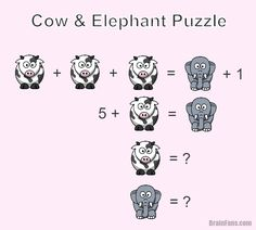Brain teaser - Number And Math Puzzle - Cow and elephant animal puzzle - Can you find the value for the cow and the elephant? Riddles Logic, Logic Math, Logic Puzzles, Simple Math, Easy Math, Math Magic, Math Talk, Math Challenge, Animal Puzzle