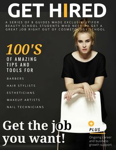 Cosmetology Students - I've created a success pack of 8 guides that cover the information you really need to know to land a great job right out of school. These guides are for Hair stylists, barbers, estheticians, makeup artists and nail technicians. Click on the pin and start getting your free guides now! // XO Jackie