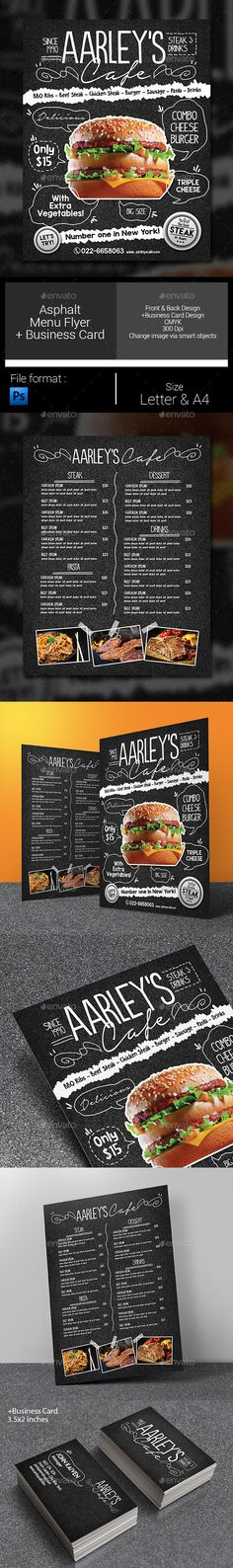 Dowload Asphalt Food Menu PSD Flyer Template for your Cafe, Steak House, Restaurant, Fast Food, etc. Very easy to edit text and change images. Restaurant Poster, Restaurant Menu Design, House Restaurant, Burger Bar, Food Menu Template, Flyer Template, Photoshop, Menu Flyer, Food Menu Design