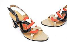 b5769abb5bc Auth HERMES Black Red Tan Patent Leather Slingback Sandals Sz 38.5 Box  PRETTY