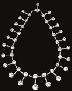 IMPORTANT DIAMOND NECKLACE/TIARA, CARTIER, CIRCA 1915, Designed as a graduated series of collet-set circular-cut diamonds between baguette stones, suspending a similarly set articulated fringe, to a navette-shaped diamond clasp, length approximately 350mm, signed Cartier Paris Londres, French assay marks and numbered, accompanied by a tiara frame.