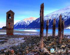 Pump house at low tide at Sandy Beach near Douglas and Juneau, Alaska.