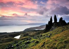 A peaceful sunrise over the rocky hill of The Storr, on Scotland's Isle of Skye