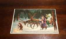 ANTIQUE VINTAGE MAILICK CHRISTMAS POST CARD HOLD TO LIGHT SANTA BABY ANGEL