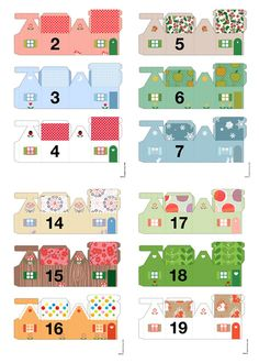 Link to 25 printable small houses--Christmas advent calendar