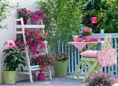 Balcony garden with seating area and container plantings of Phyllostachys 'Bis. - Stock photo from GAP Gardens, garden & plant photography Balcony Design, Garden Design, Balcony Ideas, Porch And Balcony, Garden Cottage, Plant Pictures, Terrace Garden, Porches, Container Plants