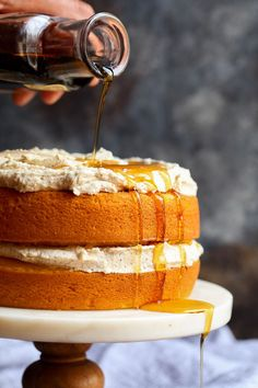 Perfect Pumpkin Cake with Browned Butter Maple Frosting. Love at first taste.