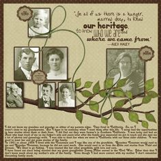 Our Heritage ~ simple family tree page with a nice heritage quote by Alex Haley.