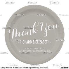Gray Modern Minimalist Wedding Plates
