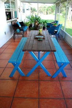 Outdoor patio - New terracotta tiles, picnic table makeover, sitting area, plants, fountain
