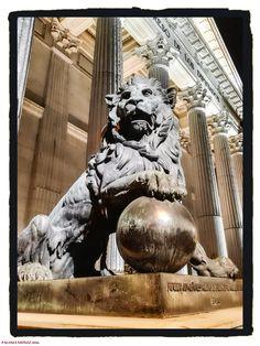 Uno de los leones de bronce que adornan la entrada al edificio del Congreso de Los Diputados.