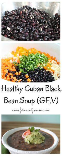 Healthy Cuban Black Bean Soup (GF,V) by www.fernsandpeonies.com