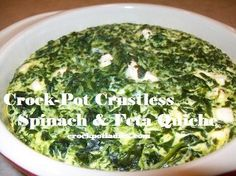 A tasty Quiche cooked in the crock-pot. Serve for breakfast or as part of a meal. Crustless Spinach & Feta Quiche.