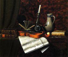 Books and candles still art | William Harnett Still-life with Violin