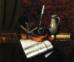 Books and candles still art   William Harnett Still-life with Violin