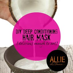 DIY Hair mask for damaged and dry hair. DIY coconut milk mask for shiny hair. Homemade deep conditioning hair mask with coconut milk, avocado and olive oil.
