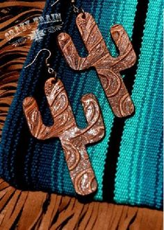 Crazy Train Tooled Leather Cactus Earrings - It's A Cowgirl Thing Boutique