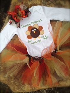 Thanksgiving onesie with turkey, tutu, and matching hair bow