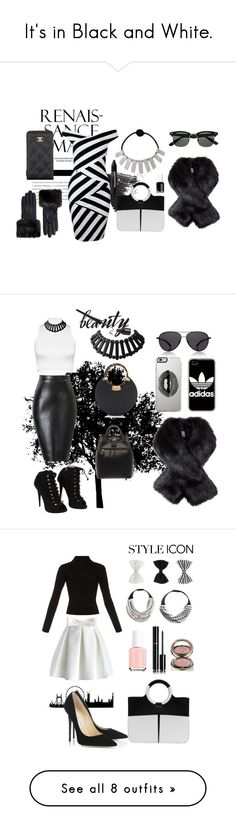 """It's in Black and White."" by fairchild-baldwin ❤ liked on Polyvore featuring Topshop, Ted Baker, Chanel, Essie, NYX, WearAll, Giuseppe Zanotti, The Row, Lipsy and adidas"
