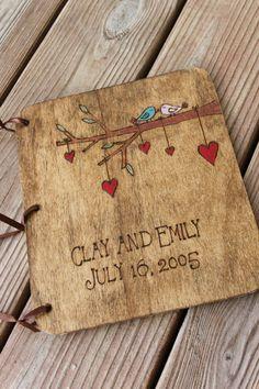 Custom Wedding Guest Book  2 Little Love Birds door LazyLightningArt, $40.00