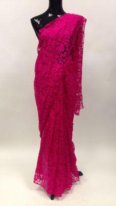 Net Ross Print Saree - Pink