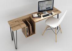 EhoEho est un studio de design canadien basé à Toronto. Ses concepteurs sont à l'origine de ce bureau baptisé « High Table » qui peut également servir de console ou de table d'appoint.  Réalisé en bois brut avec un piètement métal inspiré des épingles à cheveux, on retiendra tout particulièrement les lignes anguleuse et minimalistes ainsi que le caisson en décrochage qui peut servir de rangement.