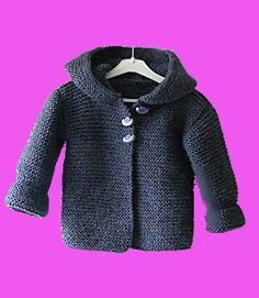 Baby Knitting Patterns Ravelry Hooded Baby Jacket By Mme Bottedefoin - Free Knitted Pattern - (ravelry) Knit Baby Sweaters, Knitted Baby Clothes, Baby Knits, Knitting Sweaters, Toddler Sweater, Crochet Clothes, Cardigan Pattern, Jacket Pattern, Baby Patterns