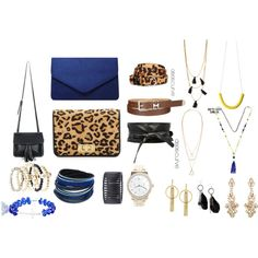 A fashion look from January 2016 featuring leather shoulder bag, blue handbags and studded purse. Browse and shop related looks.