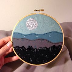 """Silvery Moon Embroidery Artwork - 6"""" Wooden Hoop - blue mountains, night sky"""