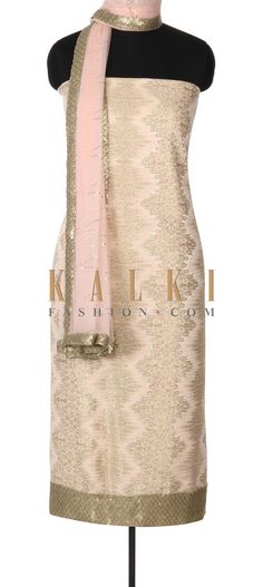Buy this Gold and pink unstitched suit adorn sequin border only on Kalki
