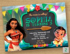 Moana Birthday Invitation ----------------------------------- Personalized their birthday special with this unique Birthday Party Invitation! This listing is for one digital invitation personalized with your event details. You will receive a printable JPG file via email, no physical items will be shipped. You will be responsible for the printing of your invitations.  How it Works (Easy) ▸ Add item(s) to your cart and complete checkout. ▸ After completing payment, please submit your…