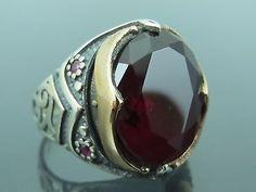 Turkish-Handmade-Ottoman-925-Sterling-Silver-Ruby-Stone-Mens-Ring-Sz-9-5