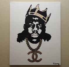 Notorious B.I.G. Chanel (16x20 Acrylic Painting on Canvas) Hip Hop & Chanel Inspired Pop Art, Biggie, Pop Art, Rhinestones, home decor, bedroom decor, living room decor, wall art, fashion art