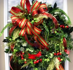 Country Christmas Wreath in red and lime green with bird