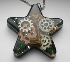 Steam Punk Big Star Pendant  Necklace  FREE Domestic Shipping