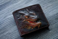 Leather Front Pocket Wallet with carved fantasy dragon, Personalized gift, fairy tale wallet. Leather Dye, Tooled Leather, Leather Tooling, Leather Craft, Leather Front Pocket Wallet, Leather Wallet, Handmade Wallets, Gifts For My Boyfriend, Wallet Pattern