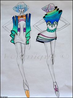 Collection for spring/summer by Verenique on DeviantArt Illustration Techniques, Fashion Illustration Sketches, Fashion Sketchbook, Fashion Sketches, Fashion Bible, Fashion Art, Dress Sketches, Fashion Figures, Fashion Design Drawings