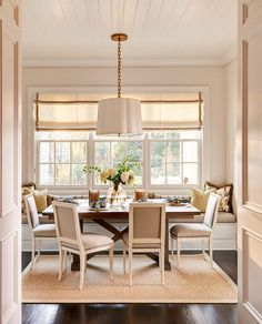 Banquette-dining-seating-dining-room-traditional-with-dark-wood-floor-beige-roman-shade-white-window-trim.jpg 800×990 pixels