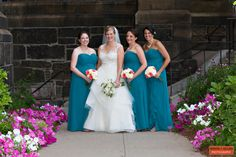 Teal Bridesmaids with Warm Pink Flowers, Cathedral of the Holy Cross, Boston Mass, Three Bridesmaids, Bridesmaid Trio, Strapless Bridesmaid Dresses, Gold Accents, Waterfall Front Gowns, Boston Wedding Photography, Boston Event Photographer.