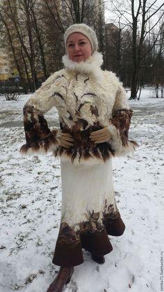 """Купить Валяный зимний костюм """"ГЕРДА"""" - цветочный, белый, пальто, жакет, жакет валяный, орнамент"""
