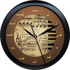Blues Piano Made Easy Brown and Beige Music Notes Teacher Wall Clock Personalized Wall Clock Classroom Decor Teacher Appreciation Gift Piano Crafts, Music Clock, Piano Art, Band Nerd, Music Decor, Teaching Music, Piano Lessons, Music Notes, Wall Clocks