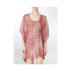 Calvin Klein Georgette Kaftan Swim Cover-Up Womens Swim ($98) ❤ liked on Polyvore