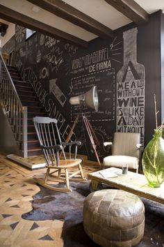 ♂ Masculine and crafty interior design. interesting chalk wall.