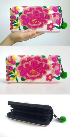 White Boho Embroidery Wallet - Ethnic Gypsy Purse - Hmong Clutch Wallet ( FREE SHIPPING WORLDWIDE )