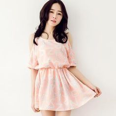 Cutout-Shoulder Lettering Chiffon Dress from #YesStyle <3 Tokyo Fashion YesStyle.com