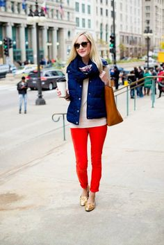 I love the bright red pants, blue puffer vest, plaid scarf, and great tote bag!