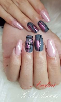Nails, flower nails, nail art designs, winter nail designs, nails d Cute Nails, Pretty Nails, My Nails, Foil Nail Art, Foil Nails, Nails With Foil, Foil Nail Designs, Elegant Nail Designs, Gel Nagel Design