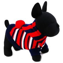 Cute Puppy Pet Cat Small Dog Knit Hooded Sweater Knitted Coat Apparel Clothes Winter 4 Sizes Christmas Gift Free Shiping(China (Mainland))