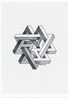 Impossible on Behance Impossible Triangle, Impossible Shapes, Fractal Geometry, Sacred Geometry Art, Isometric Drawing, Isometric Design, Illusion Drawings, Illusion Art, Penrose Triangle